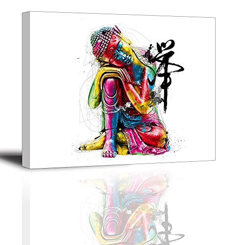 - Zen Buddha Statue Wall Art - Ready to Hang Canvas Prints for Bedroom, Waterproof, 12x16 inch