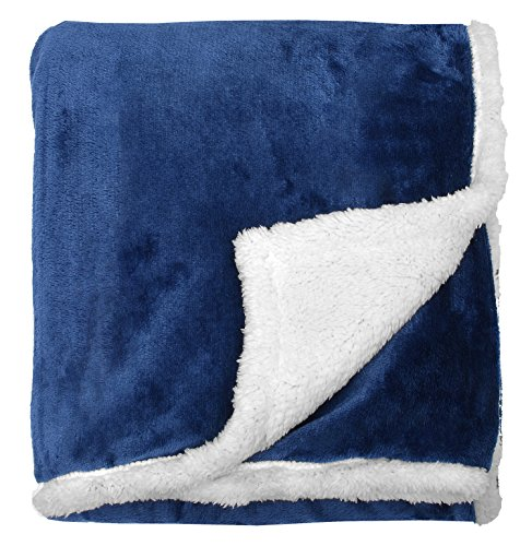 Sherpa Throw Blanket Blue 50