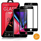 3D Full Coverage Screen Protector Glass, TIQUS (2Pack) Highly Transparent Anti-Scratch Tempered Glass Film Compatible for iPhone 8 / iPhone 7 (Black)