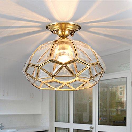 Brass 1 Light Chandelier (Lovedima Rustic Geometric Diamond-Shape Glass & Brass 1-Light Semi Flush Mount Ceiling Light Chandelier)