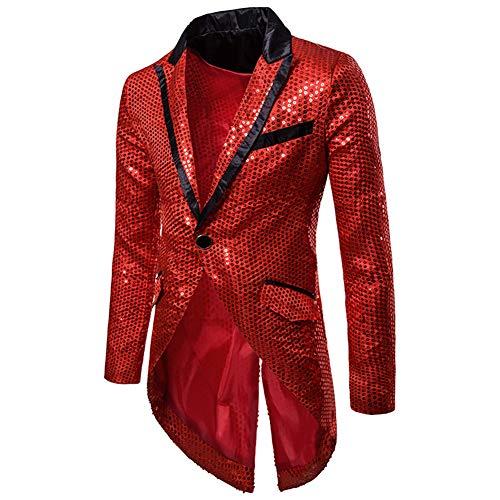 Cloudstyle Mens Sequin Tailcoat Swallowtail Suit Jacket Party Show Tux Dress Coat -