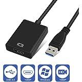 USB HDMI 変換 アダプタ 1080P 高画質と高音質 安定に同時出力 マルチディスプレイ アダプタ コンパクトで持ち運び便利 USB3.0 HDMI 変換ケーブル (ブラック)