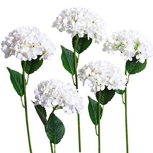 Hydrangea Small (PARTY JOY 5PCS Artificial Hydrangea Silk Flowers Bouquet Faux Hydrangea Stems for Wedding Centerpieces Home Decor (White, 5))