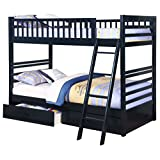 Navy Twin over Twin Bunk Bed with Storage Drawers