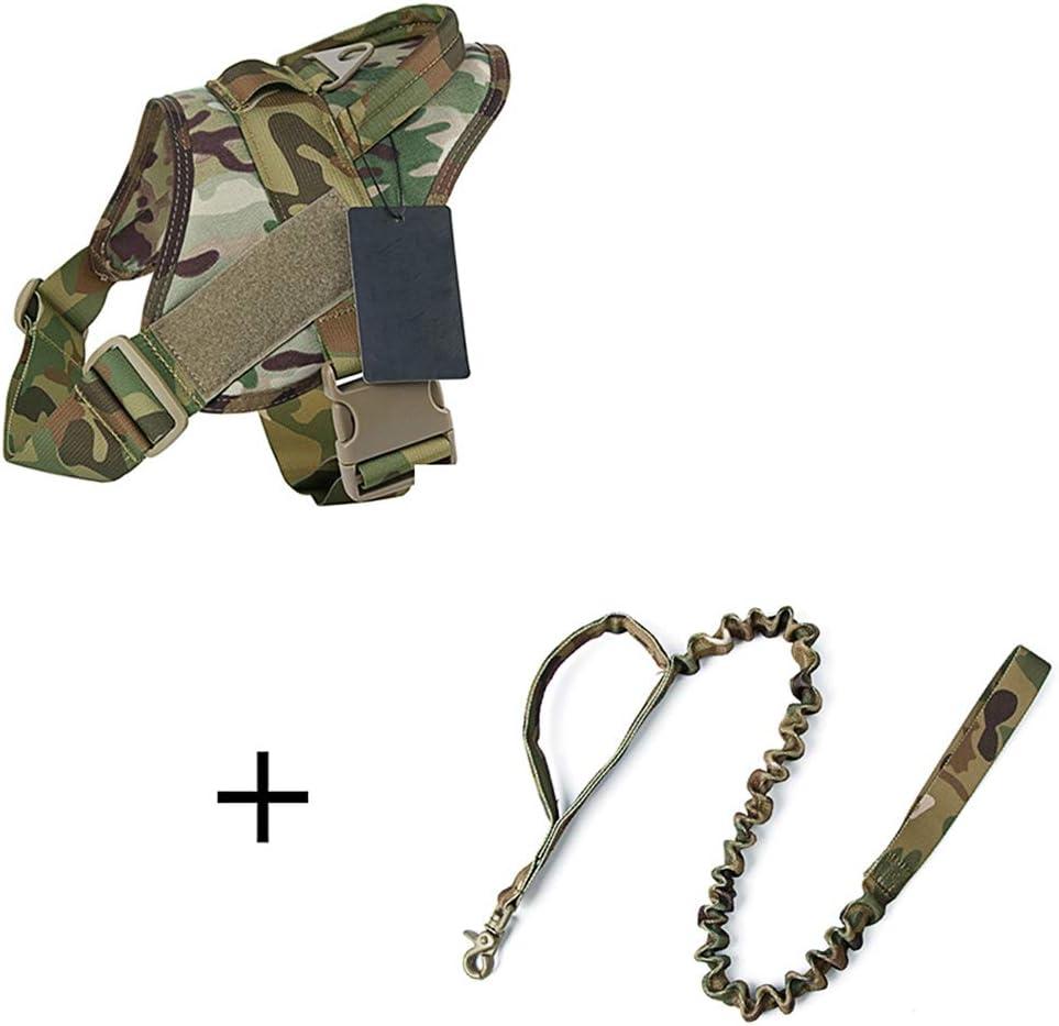 Chien de Patrouille Gilet Militaire en Nylon avec Sangle Thoracique Amovible HAOHAO Harnais Tactique pour Chien avec poign/ée,E,Small Harnais pour Chien de Travail