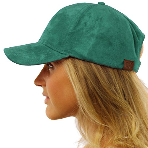 Everyday Faux Suede 6 Panel Solid Suede Baseball Adjustable Cap Hat Teal