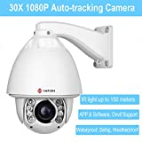 IMPORX CCTV Auto Tracking PTZ IP Camera - Support Blue Iris, 1080P 30X Optical Zoom Camera - ONVIF High Speed Weatherproof Camera, 500ft IR Distance