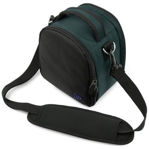 VanGoddy Laurel Carrying Bag for Olympus OM-D E-M5 II Mark II / OM-D E-M10 / OM-D E-M1 / OM-D E-M5 Mirrorless Digital SLR Cameras + Mini Tripod + Screen Protector (Navy Blue)