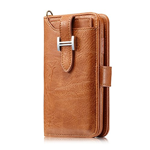 iPhone 7 Case,Vacio Zipper Card Slots Money Pocket Clutch Cover Wallet Retro Vintage Stand Smart Wallet Credit Billfold Pouch Magnetic Phone Sleeve Case for iPhone7/8.(Light Brown) by Vacio