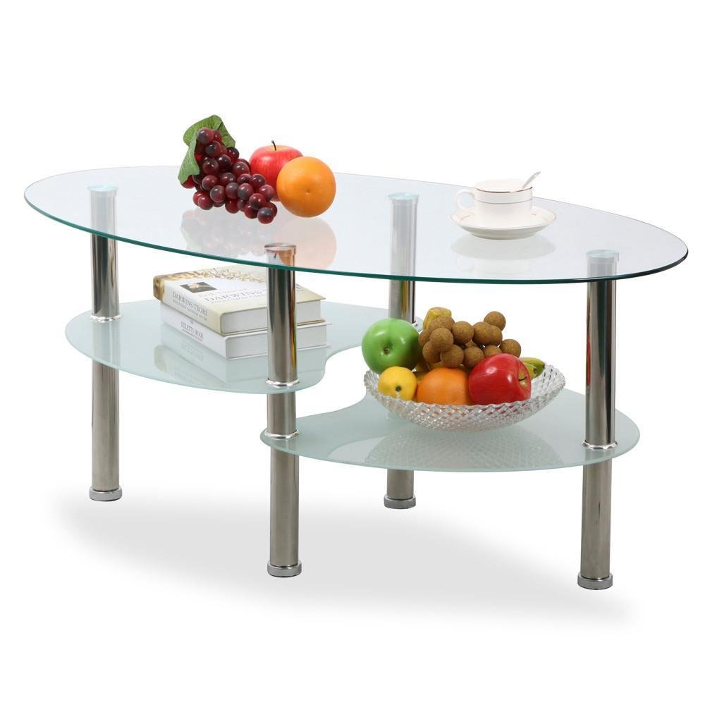 Topeakmart Living Room Modern Glass Top Coffee Tables Metal Base Glass Side End Table with Stainless Steels Legs (Oval)