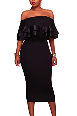 6eafd93261 Zilcremo Women Vintage Off Shoulder Ruffles Elegant Midi Bodycon Party Dress  Black XS