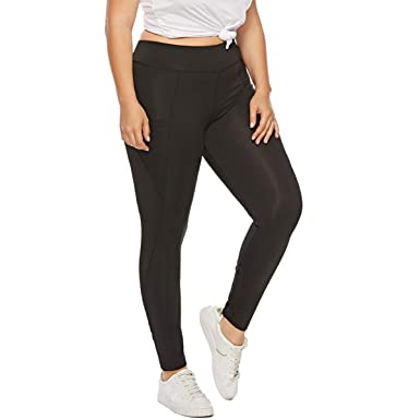 f3667451d86 Yii ouneey Women s Plus Size Yoga Leggings High Waist Workout Gym Yoga Pants  with Pocket Fitness