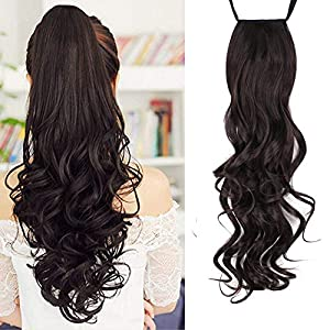 Foreign Holics Binding Tie Up Synthetic Ribbon Clip-in One Piece Drawstring Ponytail Long Curly Soft Silky Hair…