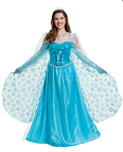Costumes For Frozen Characters (Charades Women's Ice Queen Costume, Blue, X-Small)