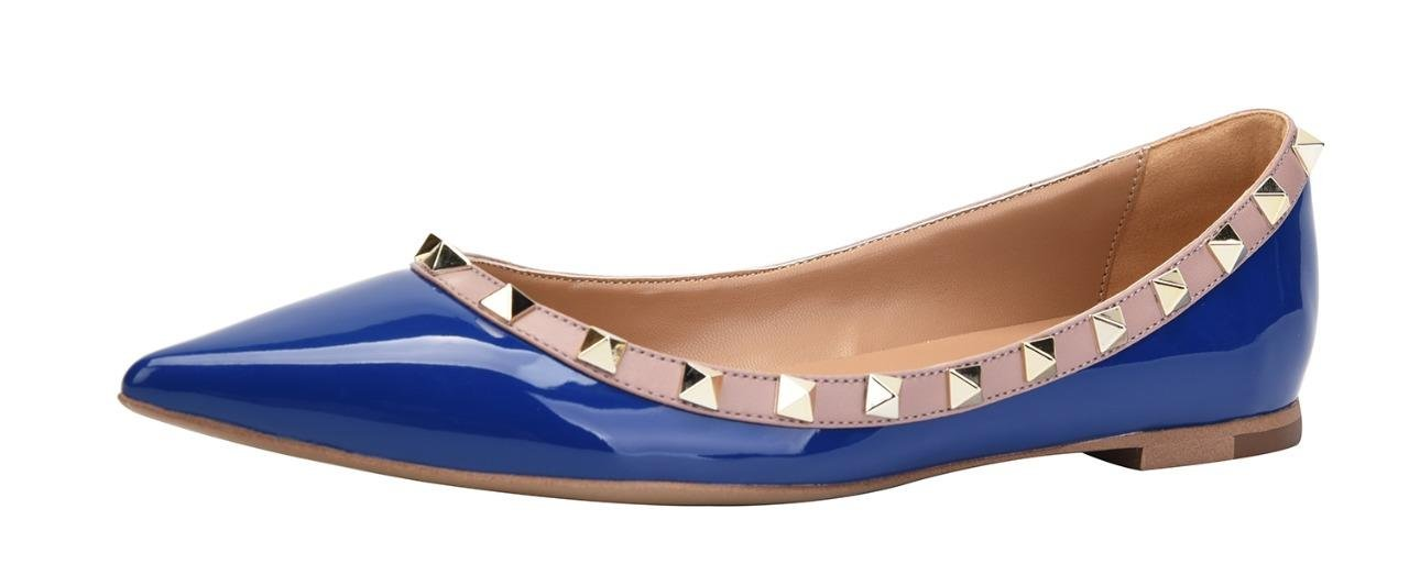 CAMSSOO Women's Classic Rivets Pointy Toe Slip on Comfort Flats Dress Pumps Shoes B06X9KSTGH US8.5/EUR41|Blue Patant Pu