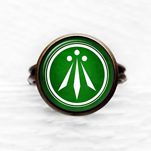 Celtic Symbol - The Awen - Three Rays of Light - White on Green Antique Bronze Adjustable Ring