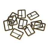 10x Metal Sliding Bar Tri-glides Roller Pin Buckles Slider Strap Wire Sew Craft Bronze 25mm