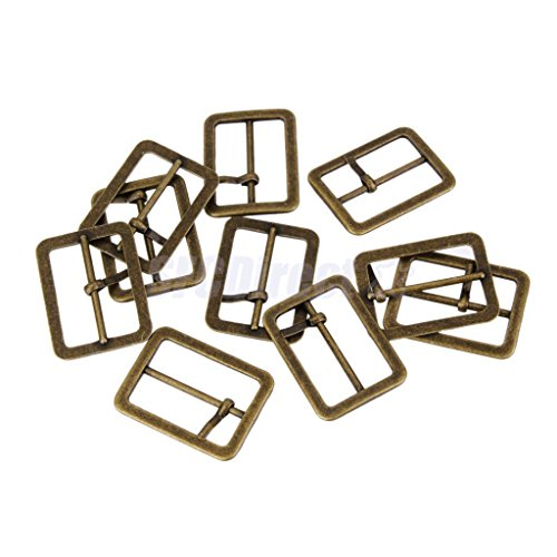 10x Metal Sliding Bar Tri-glides Roller Pin Buckles Slider Strap Wire Sew Craft Bronze 25mm by sfcdirect