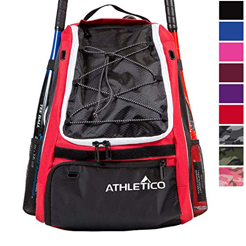 Athletico Baseball Bat Bag - Backpack for Baseball, T-Ball & Softball Equipment & Gear for Youth and Adults | Holds Bat, Helmet, Glove, Shoes | Separate Shoe Compartment, Fence Hook (Red)