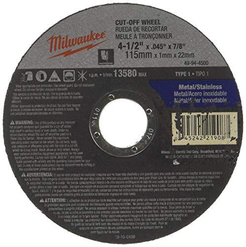 (Milwaukee 49-94-4500 Cut-Off Wheel 4-1/2 in. x .045 in. x 7/8 in. (Type 1))