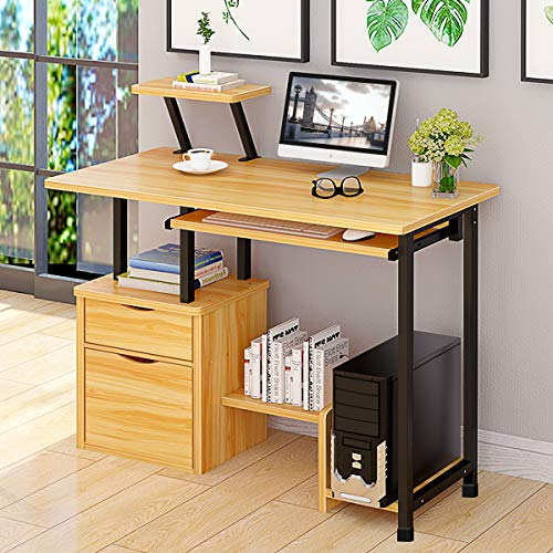 - Computer Desk,Laptop Desk Modern Style Writing Study Table Home Office Desk Compact Gaming Desk Multipurpose PC Workstation Steel Frame and Bookshelf for Home Office with Keyboard Tray & CPU Holder