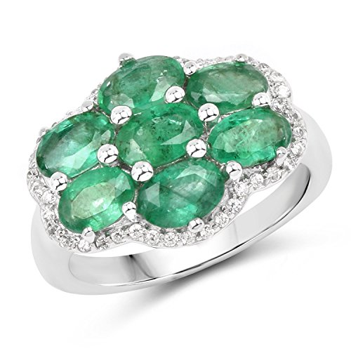 6X4 MM Oval Zambian Emerald Ring in .925 Sterling Silver,, used for sale  Delivered anywhere in USA