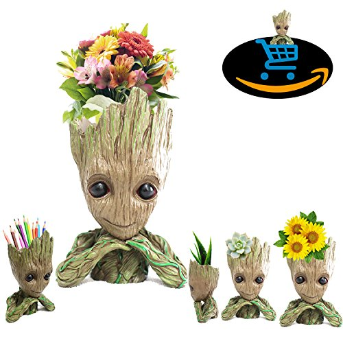 Prime Sale Day Deals Week Amazon 2018-Creative Groot Planter Pot Guardians of The Galaxy Flowerpot Baby Groot Action Figures Cute Model Toy Pen Pot Pencil Holder Best Gifts for Kids (Kawaii Groot)
