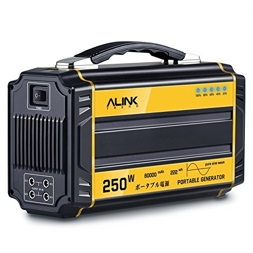 ALINK TREND 250W Portable Generator- 60000mAh Pure Sine Wave Power Generator Emergency Generator Power Source for Power Outage, Outdoors, Camping, Beach, CPAP Machine