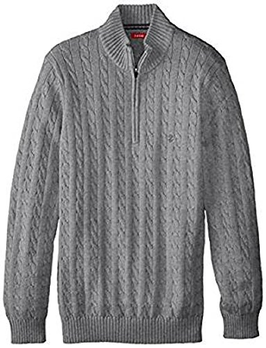 IZOD Men's Big and Tall 1/4 Zip Cable Sweater, Deep Light Grey Heather, 3X-Large Tall (Cable Izod Sweater)