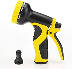 Garden Hose Nozzle, Water Hose Spray Nozzle with 10 Patterns of Spray Perfect for Watering Plants, Washing Cars and Showering Dogs & Pets
