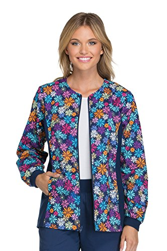 Cherokee Flexibles By Women's Zip Front Floral Print Scrub Jacket XXXXX-Large Print
