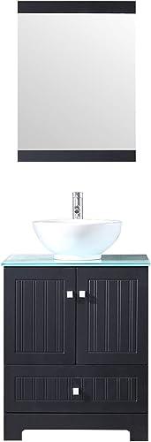 Sliverylake 24″ Bathroom Vanity Ceramic Vessel Sink Combo PVC Cabinet Blue Countertop Sink Bowl w/Mirror Set Black Bowl