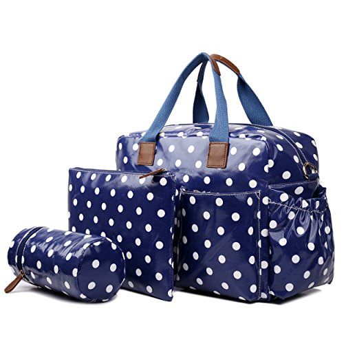 Miss Lulu 4 Piece Polka Dot Baby Nappy Changing Bag Set (Red) Polka Dot Navy
