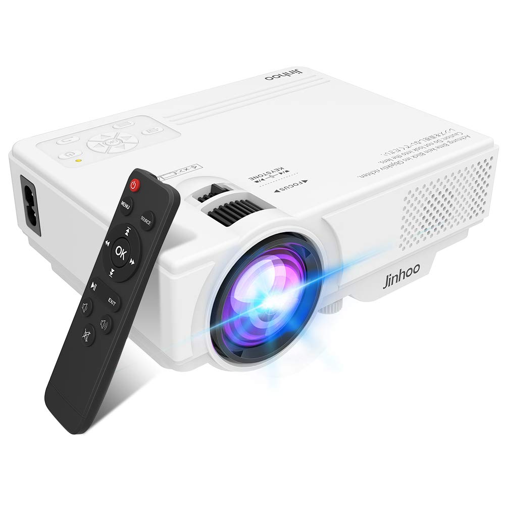 2019 Newest, Jinhoo Mini Overhead Projector 3500 Lux Full HD 1080P Supported, Home Theater Video Projector with 176'' Projector Size 55000 Hours, Compatible with TV Stick,HDMI,AV, USB,Laptop by Jinhoo