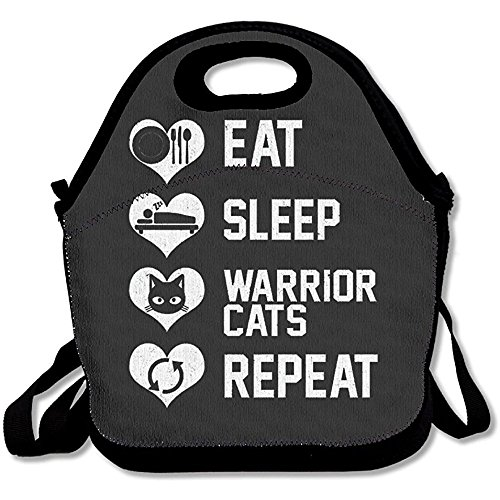 - Starmiami Eat Sleep Warrior Cats Repeat Reusable Tote Lunch Bag Tote Handbag Lunch Boxes Adults, Kids, Girls Women
