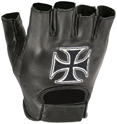 Shaf International Fingerless Leather Gloves with Chopper Embroidery (Black, Large)