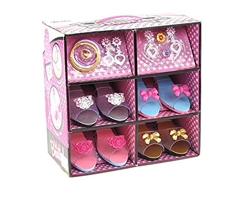 Princess Dress Up & Play Shoe and Jewelry Boutique (Includes 4 Pairs of Shoes + Multiple Fashion Accessories) - This dressup princess jewelry set is the best gift for girls (Best Dress Up For Girls)