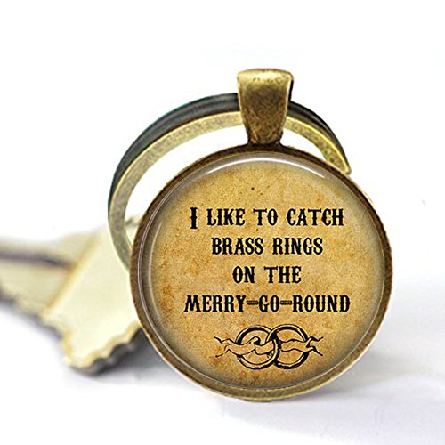 Old Folk Song I Like to Catch Brass Rings on The Merry-Go-Round- Calliope Jewelry - Musical Lyric Keychain - Merry Go Round - Folk Music