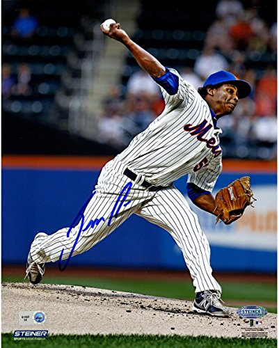 MLB New York Mets Jenrry Mejia Signed Pinstripe Jersey Pitching 8x10 Photo ()