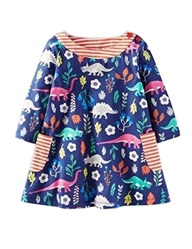 Little Girl Long Sleeve Printed Dresses with Striped Pocket (5T, Navy)