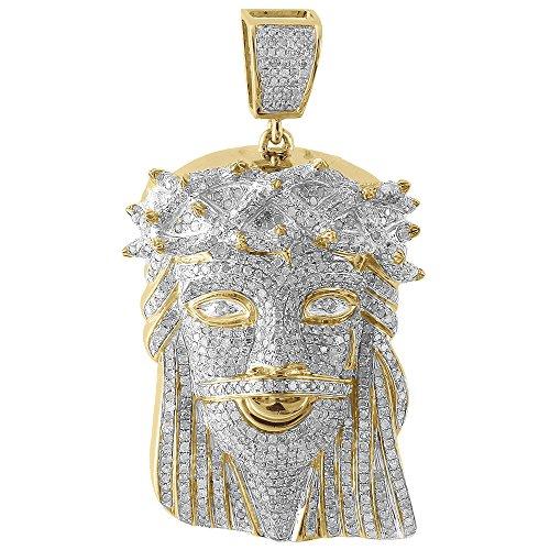10K Yellow Gold Round Cut Diamond Pave Fully Iced Jesus Face Pendant 3.70 -