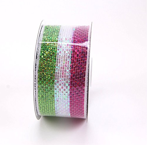 Weave Easter Basket - Green Pink and White Iridescent Basket Weave Ribbon for crafting and decorating