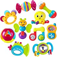 iPlay, iLearn 10pcs Baby Rattles Teether, Shaker, Grab and Spin Rattle, Musical Toy Set, Early Educational Toys for 3, 6, 9,