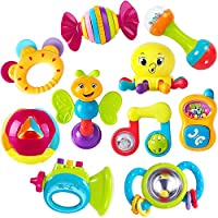 iPlay, iLearn 10pcs Baby Rattles Teether, Shaker, Grab and Spin Rattle, Musical Toy Set, Early Educational Toys for 3, 6,...