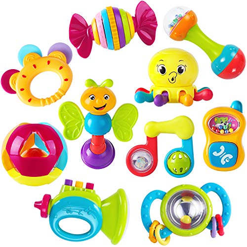 iPlay, iLearn 10pcs Baby Rattles Teether, Shaker, Grab and Spin Rattle, Musical Toy Set, Early Educational Toys for 3, 6, 9, 12 Month Baby Infant, Newborn (Set Rattles Toys)