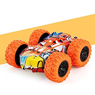 ZhiLoeng Pull Back Cars,Friction Powered Vehicles,Inertia-Double Side Stunt Graffiti Car Off Road Model Toy Car Best Christmas Birthday Party Festival Gift for Kids(7.5x7.5x3cm)