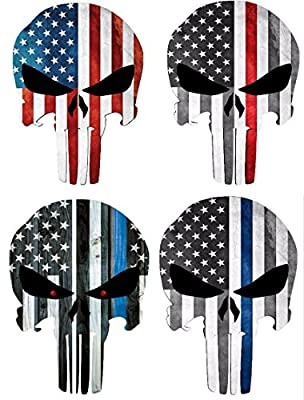 """4 different Style US Flag Punisher Skull Decal/Vinyl Stickers 4""""x3"""""""