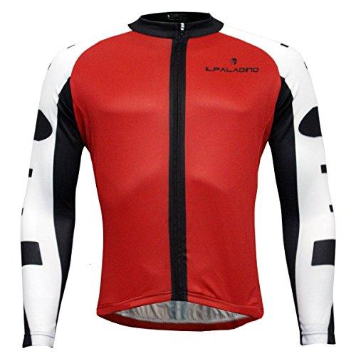 仕える規模力「Ilpaladino」サイクルジャージメンズ長袖 春秋 吸汗速乾 防風 自転車用 サイクリングジャージ