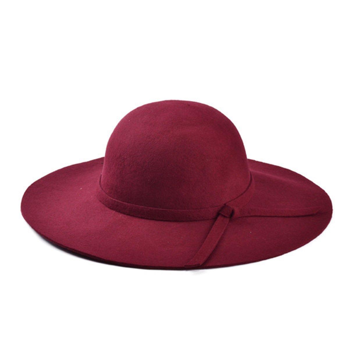 Rot Butterme Weiche Frauen Dame Weinlese schlaffe breite Rand Wolle Filz Bowler Fedora Hut schlaffe Cloche Bestes Weihnachtsgeschenk