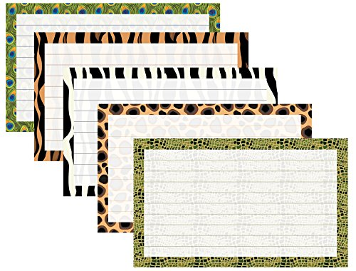 Debra Dale Designs - 3'' x 5'' Ruled Index Cards With Printed Walk on the Wild Side Border - 200 Cards - Premium 140# Heavy Thick Index Card Stock by DEBRADALE DESIGNS